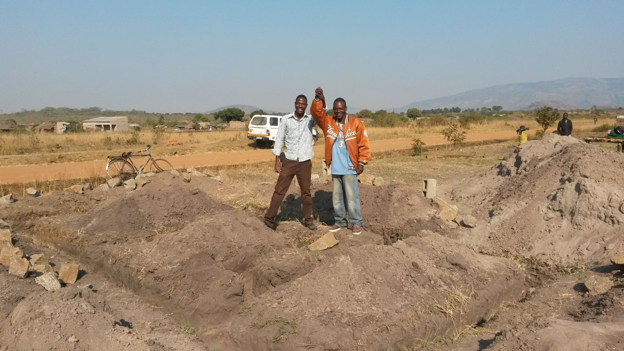 Prosper and Fani on the building site