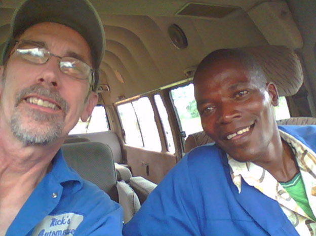 Rick and Tome in the minivan - Mozambique